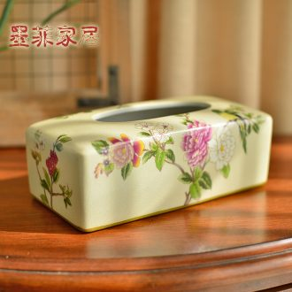 Murphy 's new Chinese peony flower ceramic paper towel box of American rural bedroom decorate the sitting room tea table smoke box