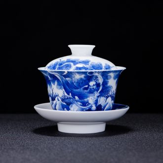Jingdezhen hand-painted tureen large three cups to bowl of kung fu tea set of blue and white porcelain eggshell porcelain tea bowl