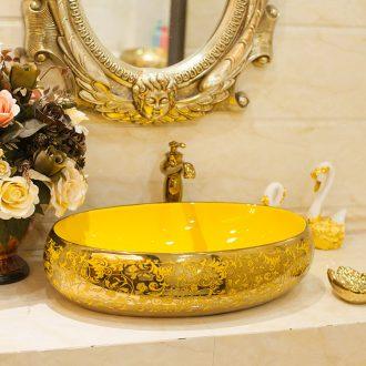 On the ceramic POTS on the oval wash gargle lavabo lavatory basin bathroom art basin of household