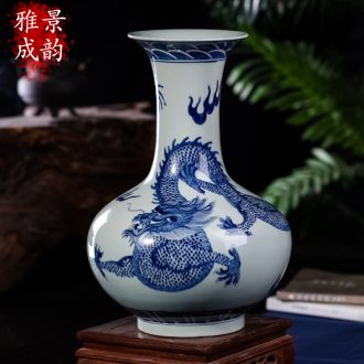 Jingdezhen ceramics decoration vase furnishing articles household act the role ofing is tasted, the sitting room is blue and white dragon vase flower arrangement by hand