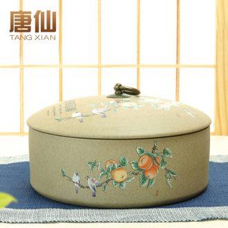Tang Xian old rock, coarse pottery caddy large three layer pu 'er hand-painted ceramic POTS tea cake tea leaf tank storage box