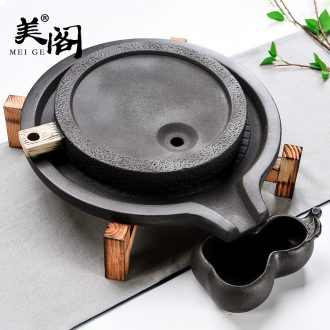 Beauty cabinet simple Japanese tea taking double stone mill ceramic tea tray was solid wood tea table tea tea set tea cups