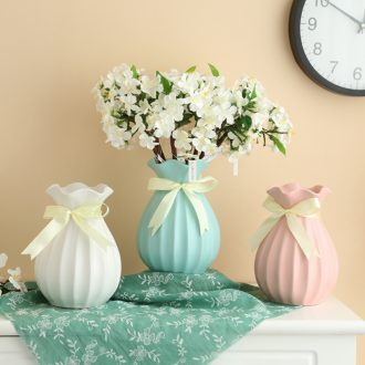 Contracted home sitting room place grinding ceramics hemp rope ribbon ceramic vases, flower arranging small pure and fresh and dried flower vase