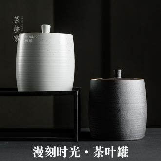 Famed diffuse carving time coarse pottery caddy fixings ceramics medium sealed jar general Japanese storage tanks gift box packaging