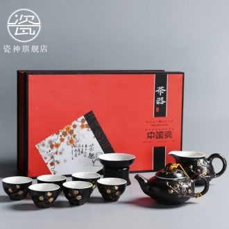 Antique Japanese porcelain god contracted ceramic kung fu tea set household hand - made paint teapot teacup gift boxes
