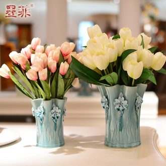 Murphy north European checking ceramic vases, I and contracted sitting room adornment is placed dry flower simulation flower art flower arranging