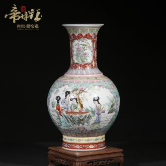 Jingdezhen ceramic antique hand-painted colored enamel window ladies TuShang bottles of sitting room home furnishing articles