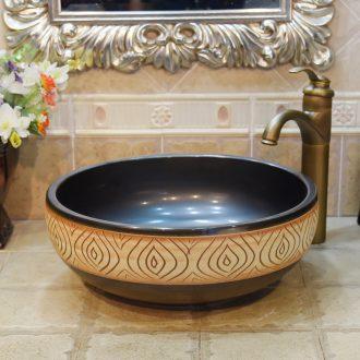 Jingdezhen ceramic lavatory basin basin art on the sink basin birdbath matte enrolled black flame carving