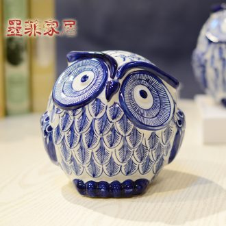 Murphy, modern new Chinese style classic blue and white ceramic owl furnishing articles sitting room the bedroom TV ark, household act the role ofing is tasted