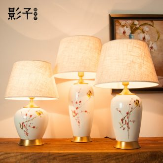 All copper ceramic desk lamp of modern new Chinese hand - made flowers and birds pay-per-tweet wedding hotel bedroom berth lamp sitting room 1026