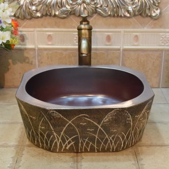 Jingdezhen ceramic wash basin stage basin sink art basin basin anise diamond ancient reed