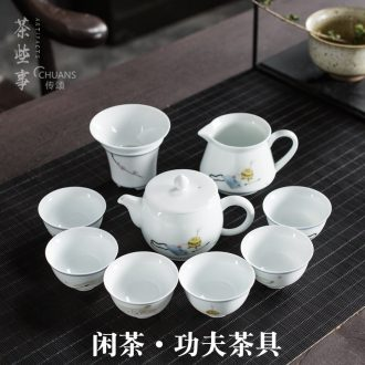 Talk of the whole set of Chinese style household kung fu tea set gift set up rest ceramic tea set gift each suit