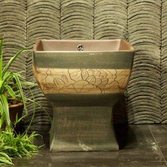 Indoor and is suing ceramic art basin mop mop pool ChiFangYuan one - piece mop pool 42 cm diameter courtyard