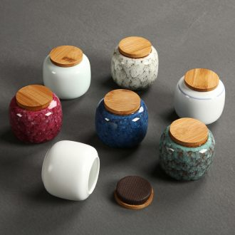 Passes on technique the kiln ceramic mini trumpet tieguanyin tea caddy seal cylinder herbs can of portable storage POTS