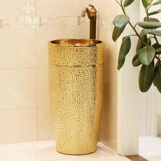 Jingdezhen ceramic art basin pillar basin sink the lavatory basin floor column basin suit