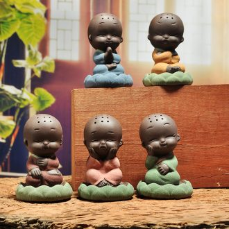 JiaXin creative boutique purple sand tea pet color sand pottery small zen monk ceramic little novice monk furnishing articles see colour sand play tea