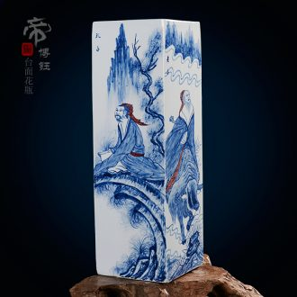 Home fashion pastel blue and white porcelain masterpieces by famous writers hand-painted vases, jingdezhen ceramics compartments, traditional Chinese painting figures