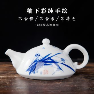 Jingdezhen ceramics small single pot of tea is the teapot tea to hand - made with cover the manual effort of blue and white porcelain tea set