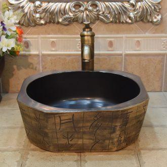 Jingdezhen ceramic lavatory basin basin sink art stage star anise diamond shaped ancient carving