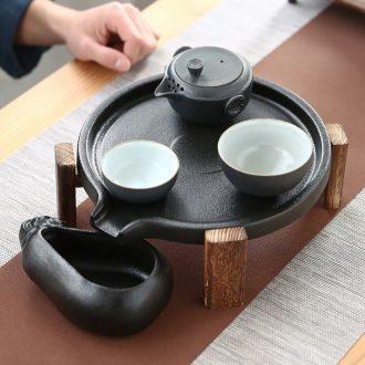 The Mini stone mill small kung fu tea tray ceramic tea set household contracted pallet storage dry Taiwan black pottery teapot tea sea