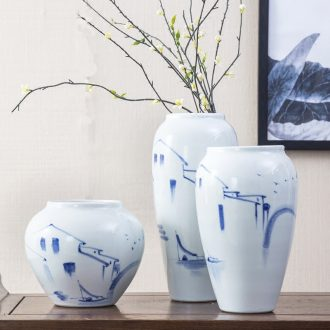 New Chinese style of jingdezhen ceramic vase sitting room simulation flowers, dried flowers, flower arrangement furnishing articles household soft adornment ornament