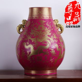 Jingdezhen ceramics imitation the qing qianlong coral red paint dragon f cylinder vase handicraft furnishing articles