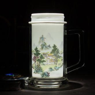 Jingdezhen ceramic gifts keep - a warm glass cup double office cup office boss ceramic tank insulation cup 300 ml