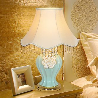 Ceramic lamp LED lamp of bedroom the head of a bed the study move sitting room adornment lamp creative manual up phnom penh pinch flower