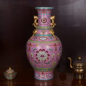 Jingdezhen ceramic vases, antique hand-painted the colour pink ears around lotus flower bottle handicraft home furnishing articles sitting room