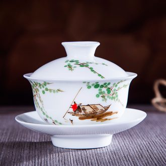 Jingdezhen ceramic hand-painted under glaze colorful tureen kung fu tea set three cups to bowl and tea cups