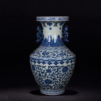 Jingdezhen porcelain vases, antique hand-painted porcelain ears around branch lotus bottle study crafts are sitting room