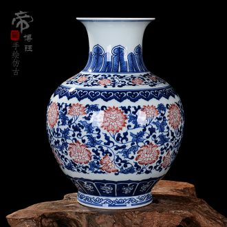 Jingdezhen blue and white ceramics bound lotus flower ocean's antique vase home sitting room adornment handicraft furnishing articles