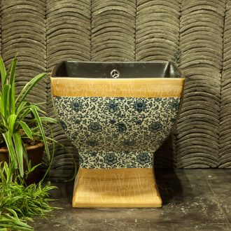 Indoor and is suing ceramic art basin mop mop pool ChiFangYuan one - piece mop pool 42 cm diameter square cyanine