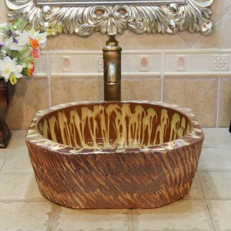 Jingdezhen ceramic wash basin stage basin up lavabo art anise diamond coffee flow blue glaze