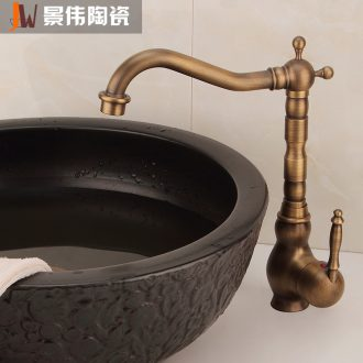 Jingdezhen all the single copper basin faucet heightened single - hole, bibcock lavabo general hot and cold water tap