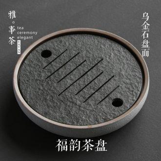 Sharply round stone tea tray ceramic small tea tray kung fu tea set a large pot of water bearing dry desk tray tea tea ceremony