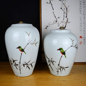Jingdezhen ceramics hand - made painting of flowers and pottery vases, sitting room of the new Chinese style household decorations with cover pot furnishing articles