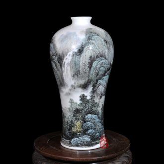Jingdezhen ceramics dong - Ming li hand - made famille rose porcelain vase huangshan cloud home sitting room handicraft furnishing articles