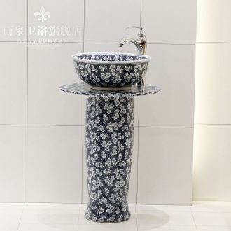 Jingdezhen ceramic stage basin, art basin stage basin sink floor pillar column basin suit