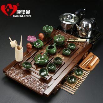 Recreational products a complete set of tea set ice crack glaze ceramic not violet arenaceous kung fu tea sets induction cooker medium solid wood
