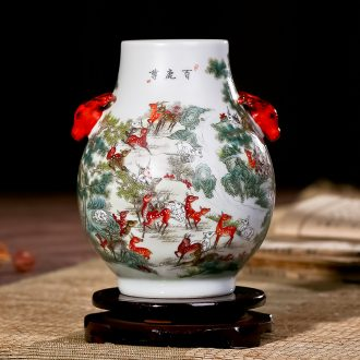 Jingdezhen ceramics imitation retro nostalgia art flower arranging large vase office sitting room checking works of art