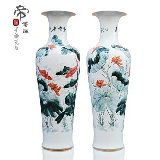 Jingdezhen ceramics powder enamel vase lotus more landing big fish every year modern hotel decoration