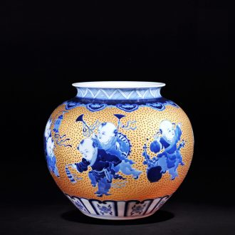 Jingdezhen ceramics high-end antique hand-painted with jinlong general tank sitting room new home decoration furnishing articles TV ark