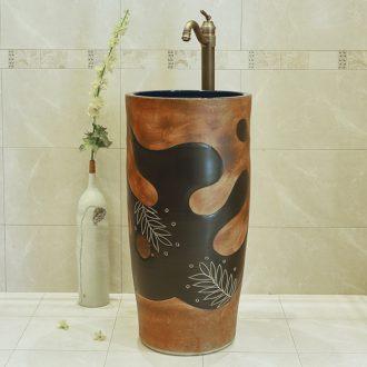Jingdezhen art basin to the balcony toilet ceramics one - piece stage basin basin bathroom on the plate