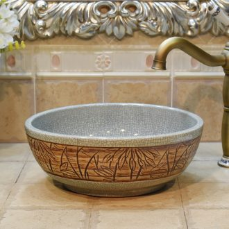Jingdezhen ceramic stage basin lavatory basin, art basin sink basin small crack 35 cm bamboo leaves