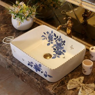 Jingdezhen happens stage basin sink ceramic square, European art of the basin that wash a face basin is I and contracted