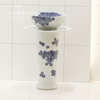Jingdezhen ceramic stage basin art one - piece stage basin round pillar lavabo landing connected suits for
