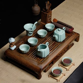 Friend is tea set suits for your up of pottery and porcelain of a complete set of kung fu tea chicken wings wood tea tray was solid wood tea tea table