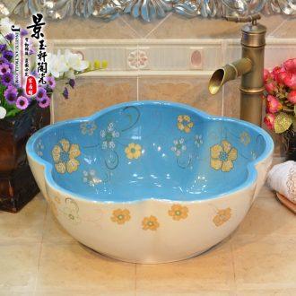Jingdezhen ceramic art basin in blue and white cherry blossoms that defend bath torx stage basin sinks