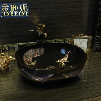 Gold cellnique modern stage basin ceramic art basin of the basin that wash a face black glaze sink oval increase the basin that wash a face